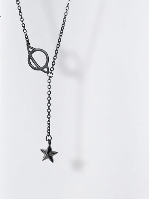Rosh 925 Sterling Silver Black Star Minimalist Necklace 2
