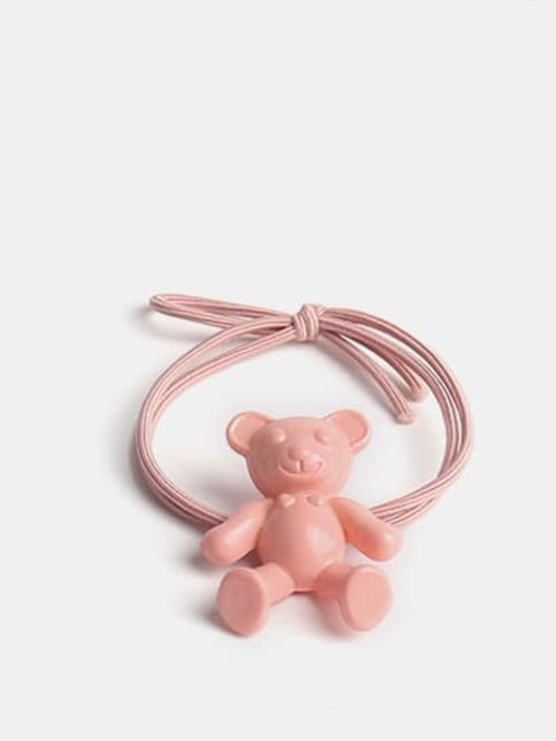 Pink Cute fluorescent color bear Hair Rope