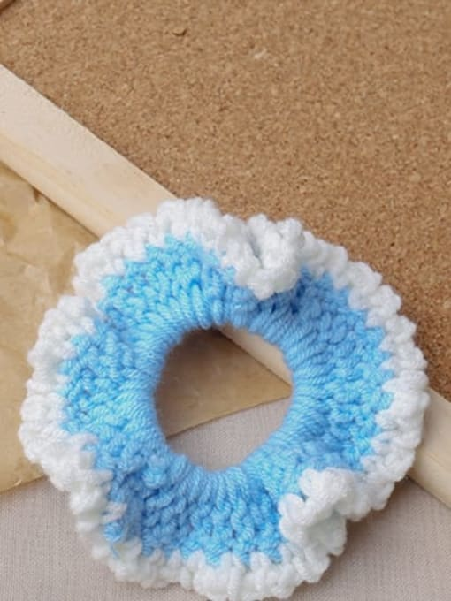 Blue knitted large intestine ring Candy colored knitted large intestine hair loop head rope