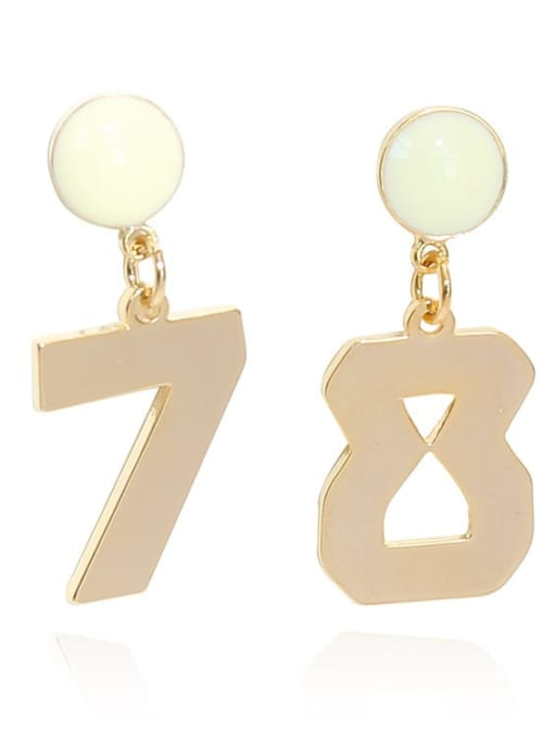 HYACINTH Copper Alloy Gold Number Trend Earring 4