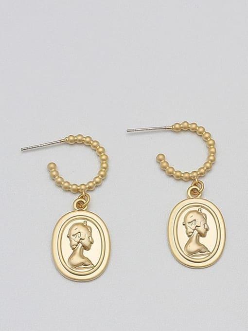 HYACINTH Alloy Gold Geometric Minimalist Drop Earring 1