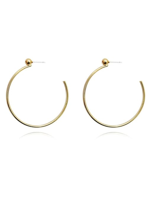 HYACINTH Copper Alloy Gold Round Statement Hoop Earring 4