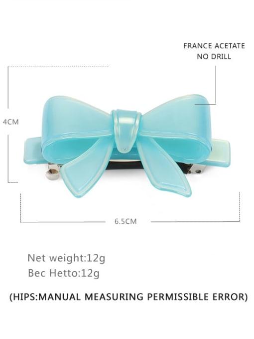 Light blue Small Cellulose Acetate Minimalist Bowknot Hair Barrette