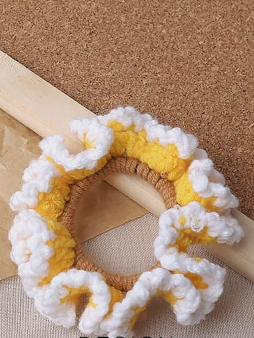 Yellow knitted large intestine ring Candy colored knitted large intestine hair loop head rope