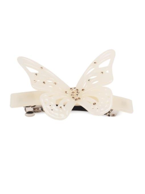 Rice white Cellulose Acetate Minimalist Butterfly Rhinestone Hair Barrette