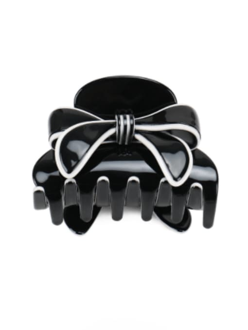 black Cellulose Acetate Minimalist Bowknot Jaw Hair Claw