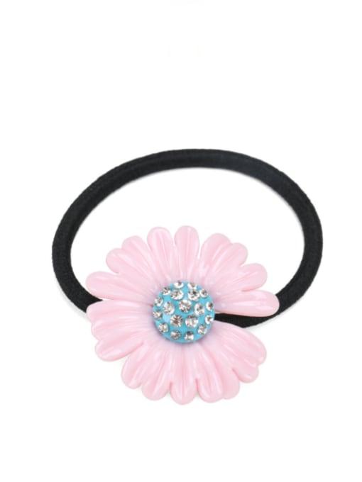 pink Cellulose Acetate Minimalist Flower Rhinestone Multi Color Hair Barrette