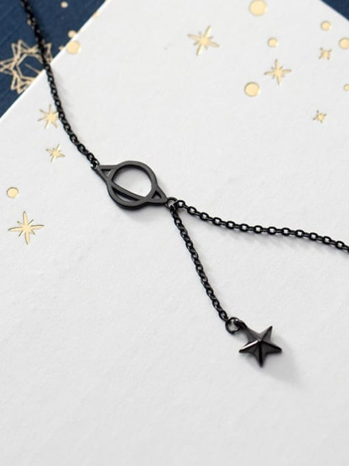 Rosh 925 Sterling Silver Black Star Minimalist Necklace