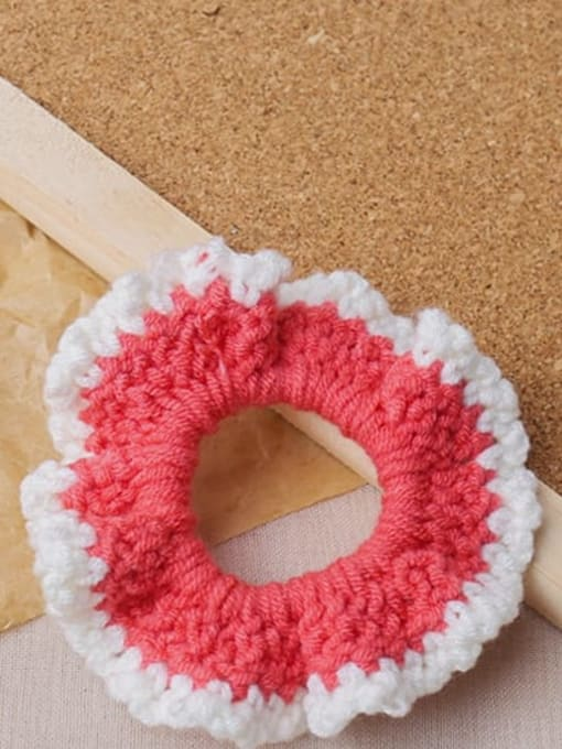 Pink knitting large intestine ring Candy colored knitted large intestine hair loop head rope