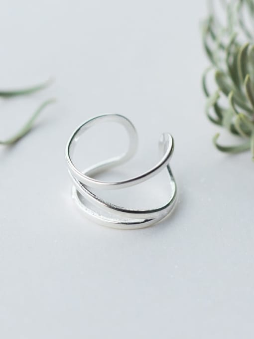 Rosh 925 Sterling Silver Silver Irregular Trend Stackable Ring 1