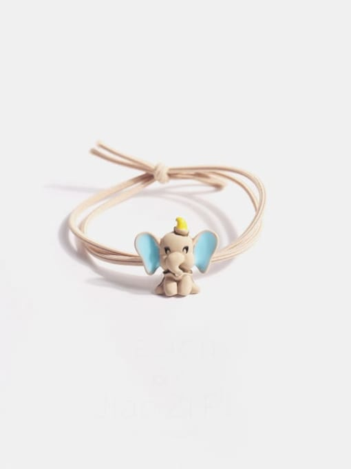 Beige flying elephant Alloy  Simple Cute Small Flying Elephant Multi Color Hair Rope