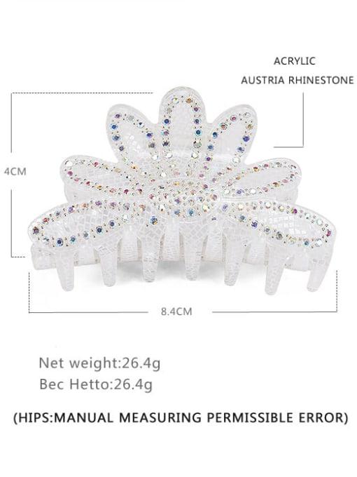 white Acrylic Minimalist Crown Alloy Rhinestone Multi Color Jaw Hair Claw