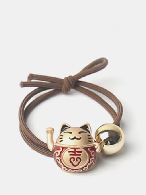JoChic Alloy Cute Bright Gold Fortune Cat Scrub Beads Hair Rope 0