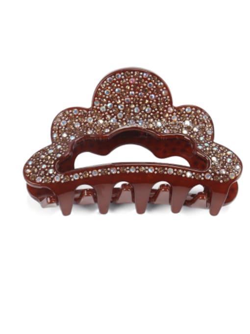 brown Acrylic Minimalist Crown Alloy Rhinestone Multi Color Jaw Hair Claw