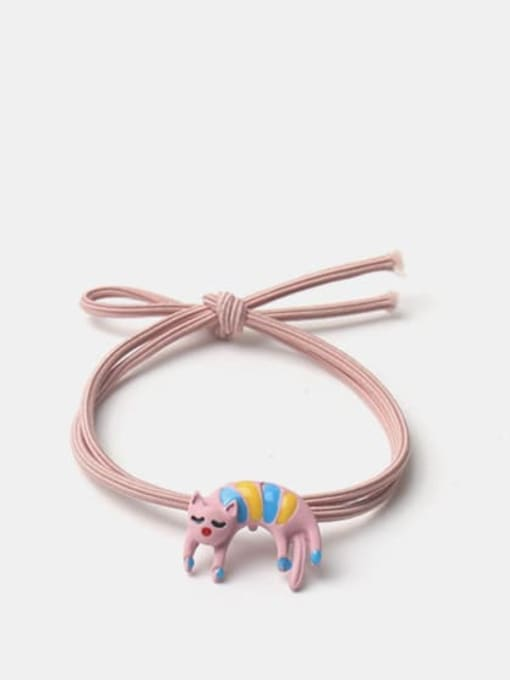 Pink curved kitten Alloy Enamel Cute Pink Curved Kitten Hair Rope