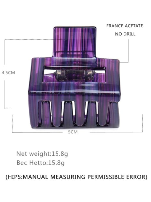 Purple Stripe Cellulose Acetate Statement Geometric Multi Color Jaw Hair Claw