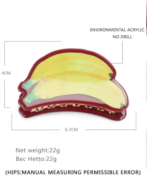 Banana Cellulose Acetate Minimalist Friut Multi Color Jaw Hair Claw