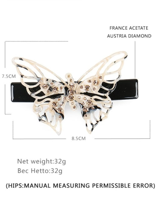 BUENA Cellulose Acetate Minimalist Butterfly Alloy Rhinestone Hair Barrette 1