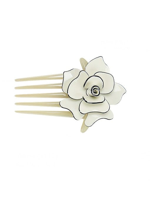 Off white Alloy Acrylic Minimalist Flower Multi Color Hair Comb