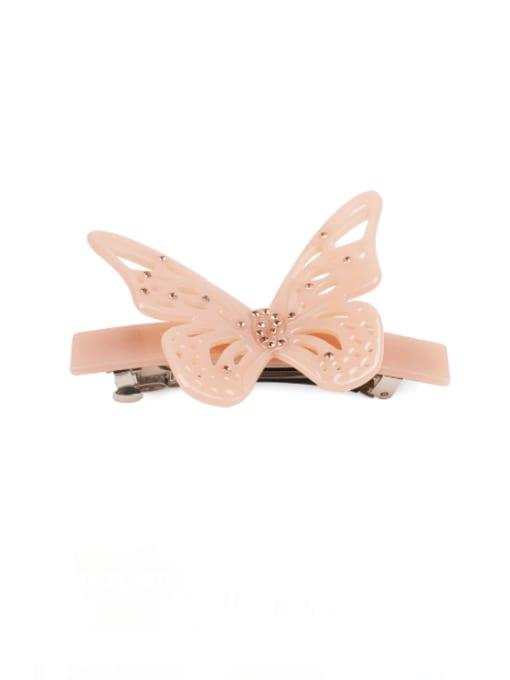 Bare pink Cellulose Acetate Minimalist Butterfly Rhinestone Hair Barrette