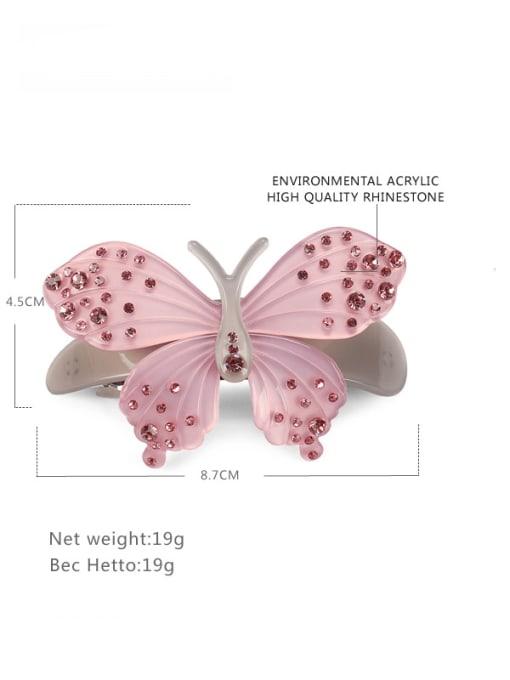 BUENA Alloy Acrylic Minimalist Butterfly Rhinestone Hair Barrette 1