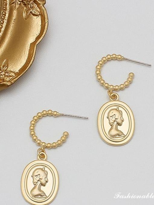 HYACINTH Alloy Gold Geometric Minimalist Drop Earring 2