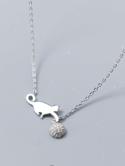 Rosh 925 Sterling Silver Silver Cat Minimalist Necklace