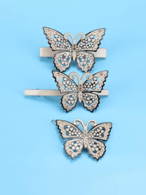 BUENA Cellulose Acetate Minimalist Butterfly Alloy Rhinestone Hair Barrette 0