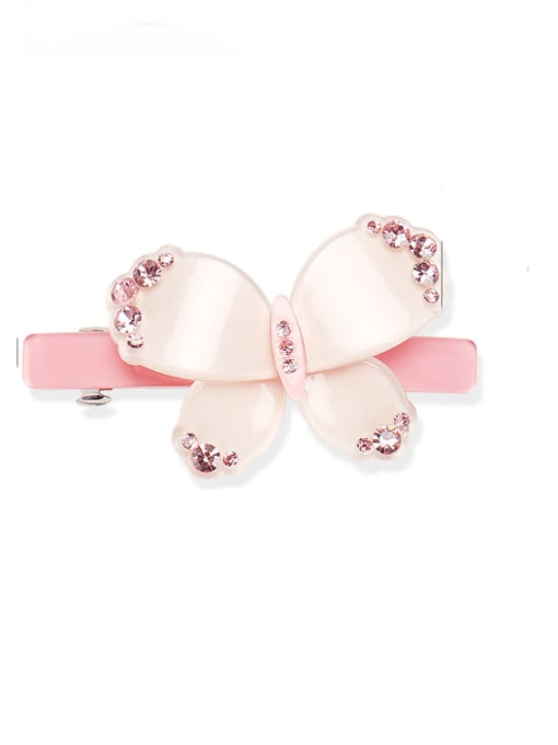 Pink Acrylic Minimalist Bowknot Alloy Rhinestone Hair Barrette
