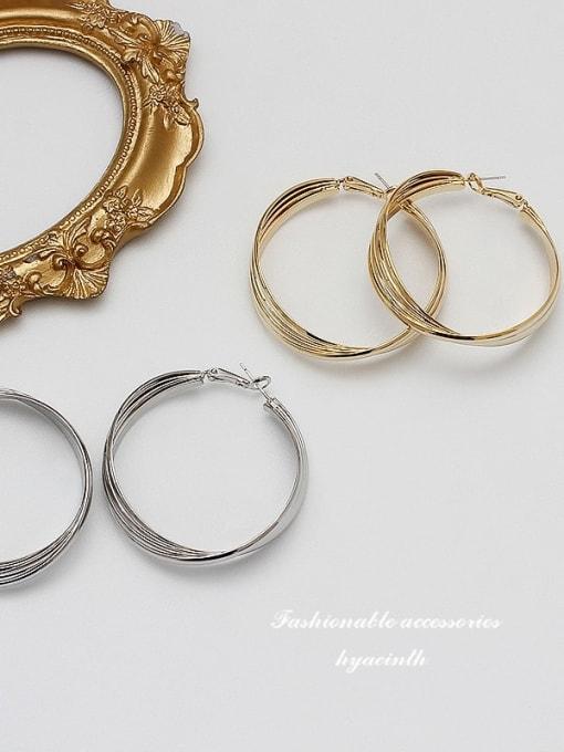 HYACINTH Copper Alloy Gold Geometric Statement Hoop Earring