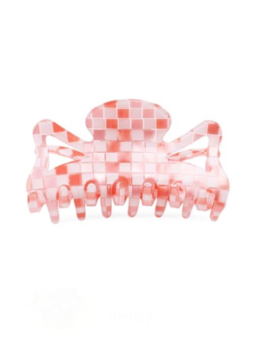 Plaid Pink PVC Minimalist Geometric Multi Color Jaw Hair Claw