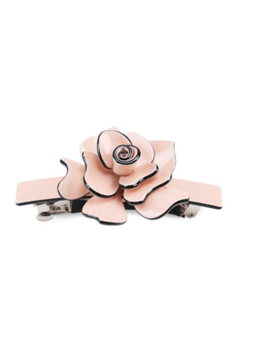 Pink Alloy Acrylic Minimalist Flower  Rhinestone Hair Barrette