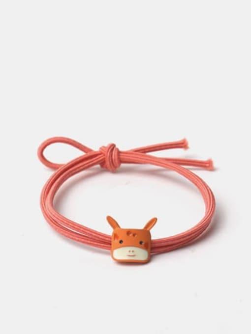 Orange square deer head Alloy Enamel Cute Cat  Multi Color Hair Rope