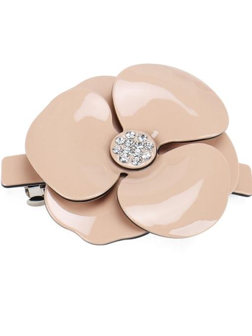 Pink Large Cellulose Acetate Minimalist Flower Alloy Rhinestone Hair Barrette