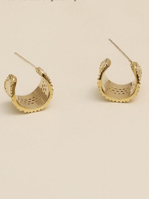 HYACINTH Copper Alloy Rhinestone Gold Geometric Vintage Stud Earring 3