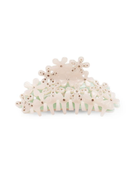 white Cellulose Acetate Minimalist Hollow Flower Jaw Hair Claw