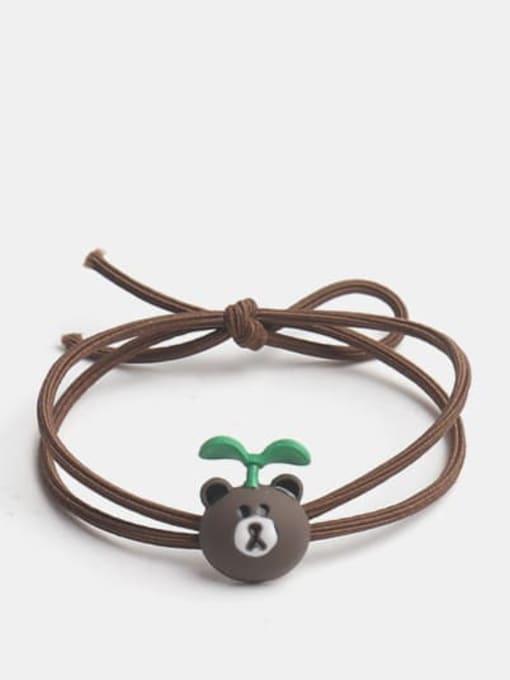 Long grass bear Alloy Enamel Cute Long grass Cartoon Bear Multi Color Hair Rope