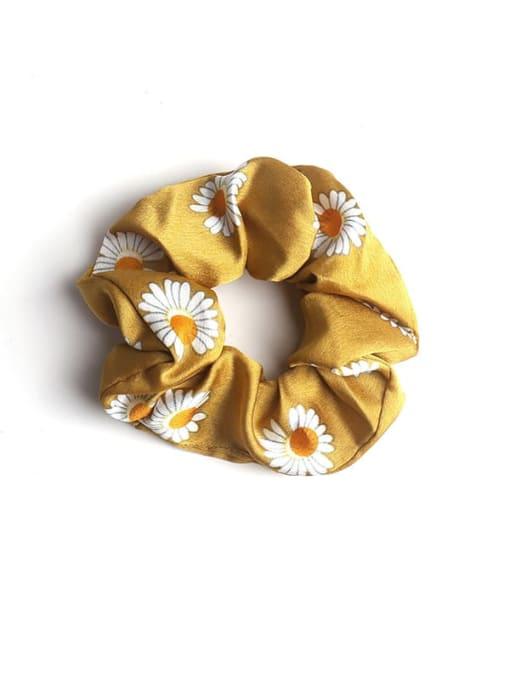 Yellow Satin Daisy large intestine ring Fabric Minimalist Hair Barrette