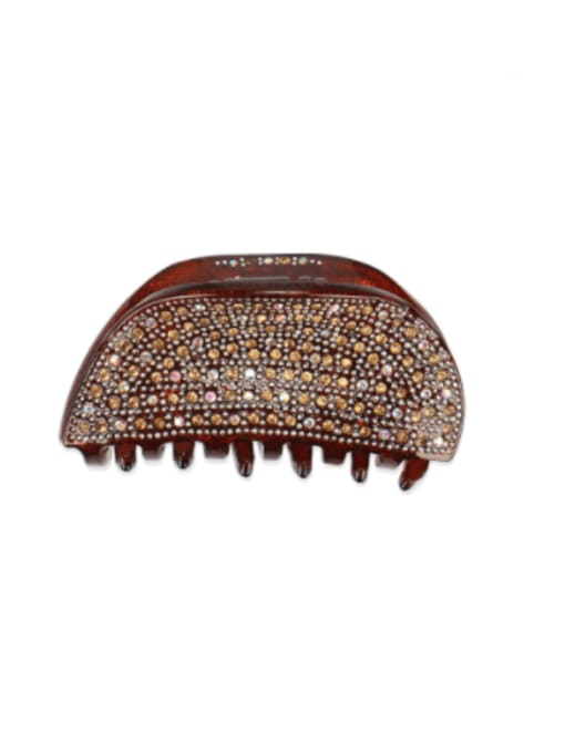 Small brown Acrylic Minimalist Irregular Rhinestone Multi Color Jaw Hair Claw