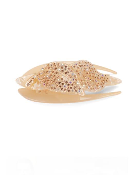 golden Acrylic Minimalist Leaf Rhinestone Multi Color Jaw Hair Claw