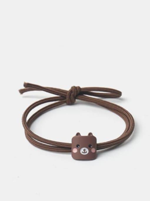 Brown square bear head Alloy Enamel Cute Cat  Multi Color Hair Rope