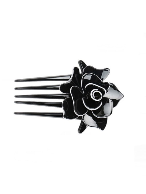 black Alloy Acrylic Minimalist Flower Multi Color Hair Comb