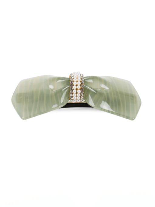 Light green Cellulose Acetate Minimalist Bowknot Rhinestone Hair Barrette