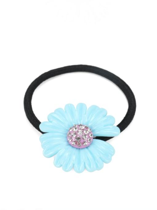 Blue 1 Cellulose Acetate Minimalist Flower Rhinestone Multi Color Hair Barrette