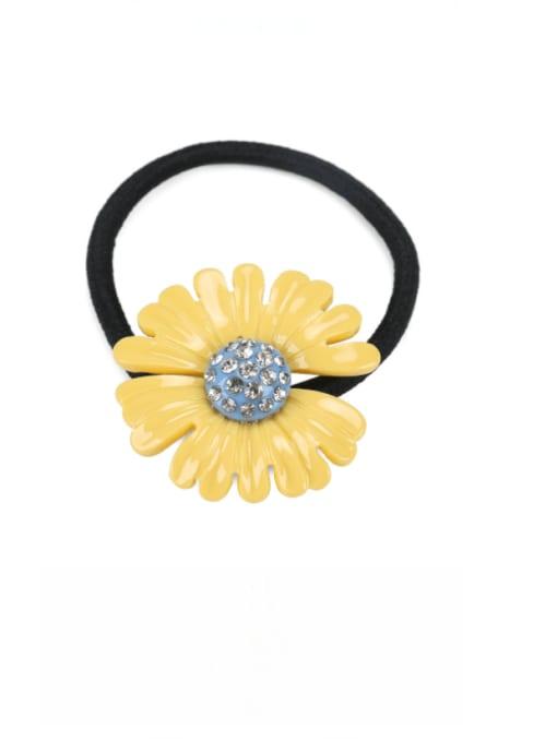 yellow Cellulose Acetate Minimalist Flower Rhinestone Multi Color Hair Barrette