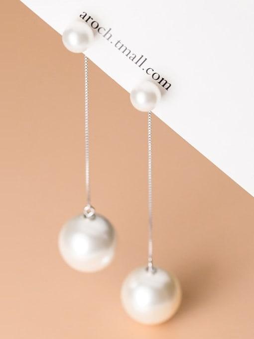 Rosh 925 Sterling Silver Imitation Pearl Silver Trend Drop Earring