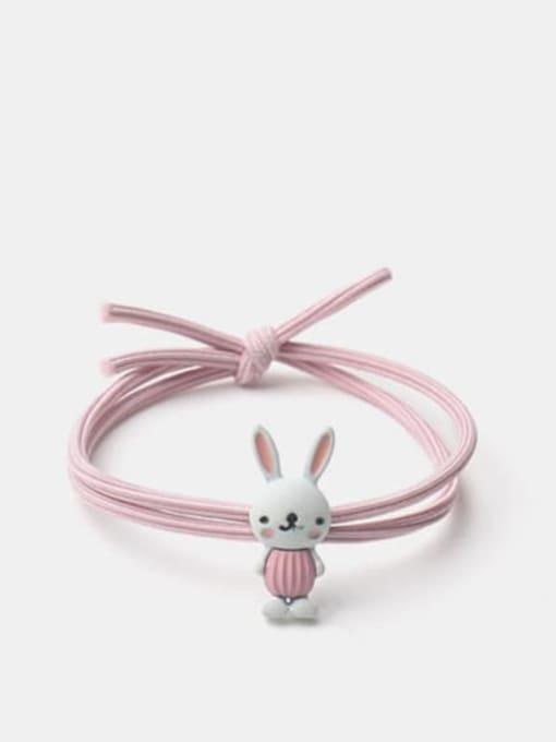JoChic Alloy Enamel Cute Rabbit  Pink Hair Rope