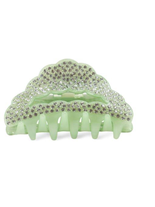 green Acrylic Minimalist Geometric Alloy Rhinestone Jaw Hair Claw