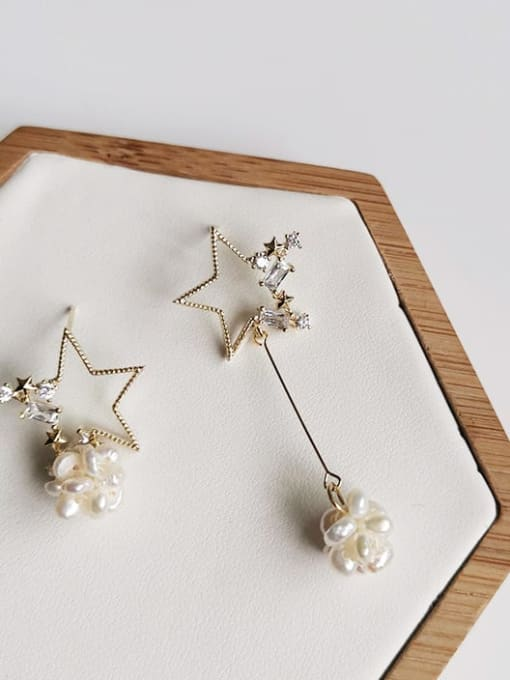14K real gold Copper Alloy Freshwater Pearl Gold Star Trend Earring