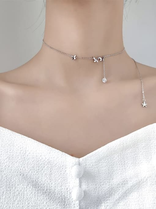 Rosh 925 Sterling Silver Silver Butterfly Minimalist Necklace 1